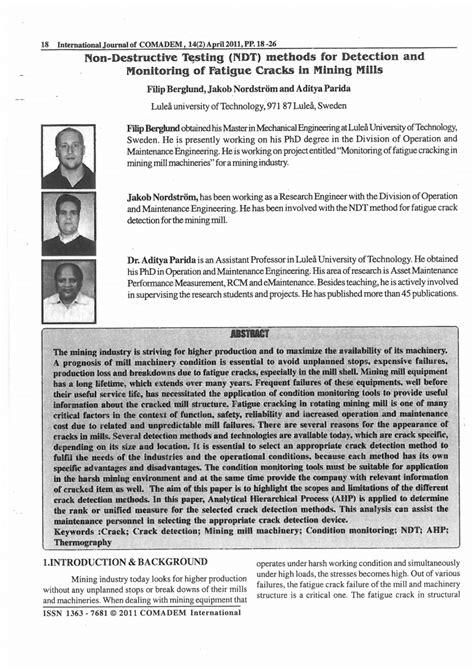 (PDF) Non-destructive testing (NDT) methods for detection