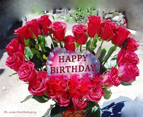 Happy Birthday Wishes Roses Heart Shaped Birthday Greeting Card With Roses F381