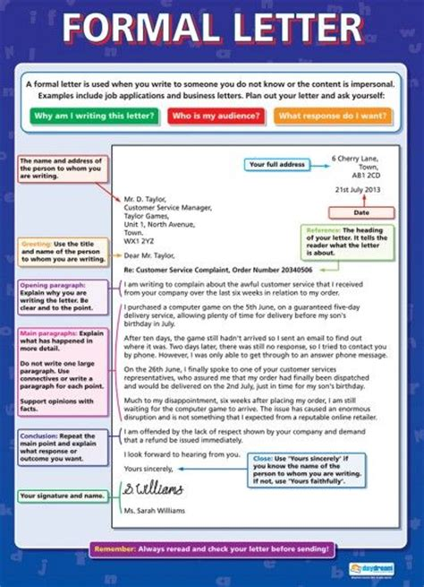 Formal Letter Exle Year 6 Formal Letter Literacy Educational School Posters Esl Grammar Vocab