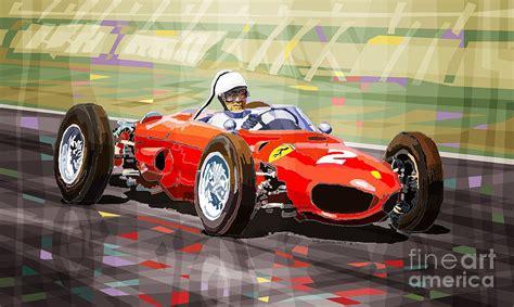Car Plans ferrari 156 dino british gp1962 phil hill digital art by