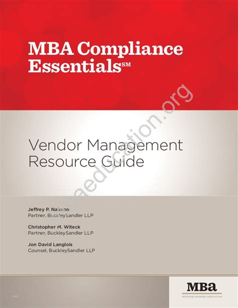 Mba Compliance mba compliance essentials vendor management resource guide