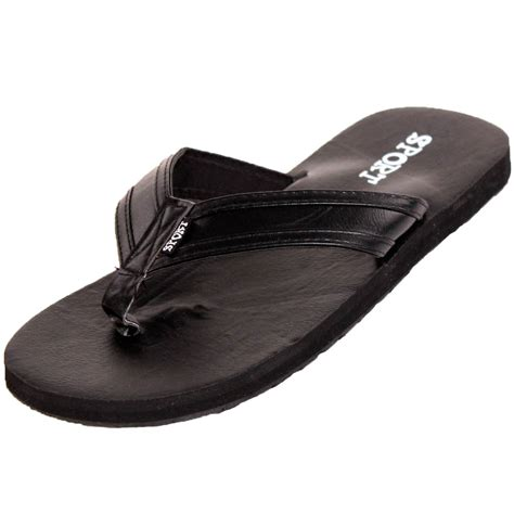 Faux Leather Flip Flops mens new faux leather flip flop sandal slip on shoe
