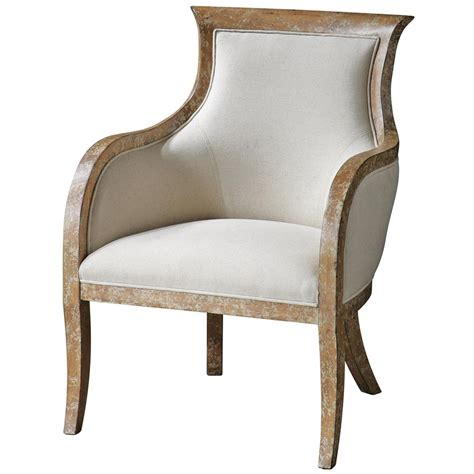beige armchair annika french country distressed mahogany beige linen arm chair kathy kuo home