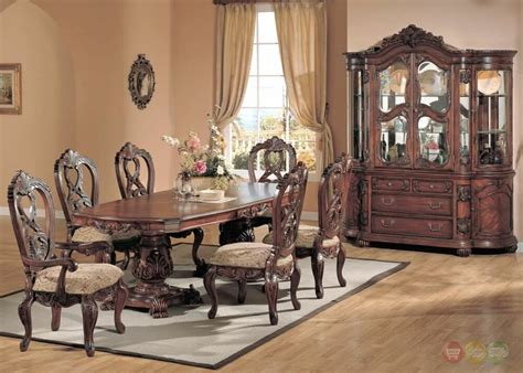 elegant traditional carved cherry 7 piece formal dining