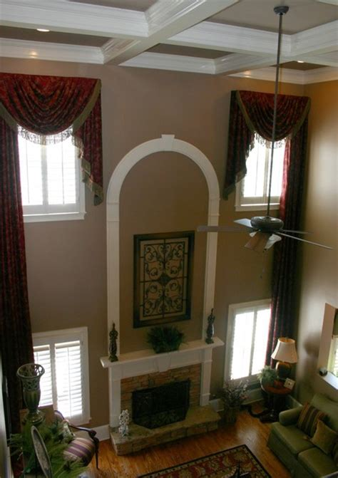 family room window treatments custom window treatments two story transitional