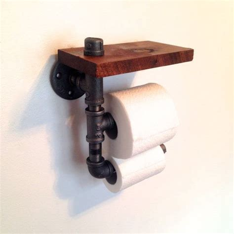 toilet paper holder wood wood and pipe toilet paper holder rustic bathroom