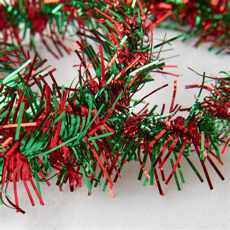 metallic red and green tinsel garland christmas and