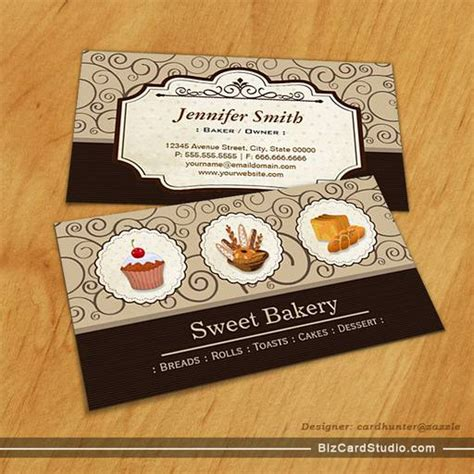 Pudding Card Template by Bakery Baker Breads Rolls Toasts Cakes Dessert Business