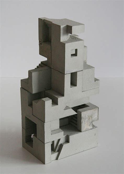 cubic geometry concrete modular sculptures  artist