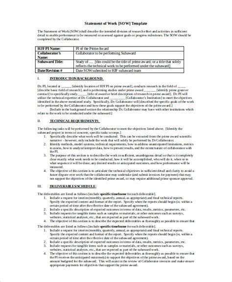 statement of work template free statement of work template 12 free pdf word excel