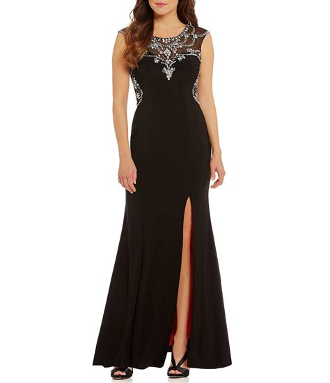 cap sleeve beaded illusion gown betsy adam illusion beaded neckline cap sleeve gown in