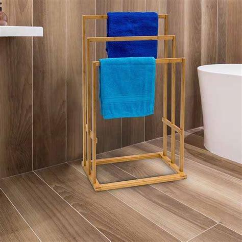 porta asciugamani bagno da terra porta asciugamani da terra in legno bambu carbonizzato 3