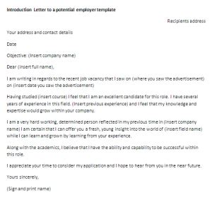 introduction letter to potential employer template