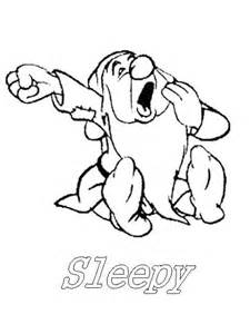 Sleepy Snow White And The Seven Dwarfs Disney Coloring Pages Snow White And The Seven Dwarfs