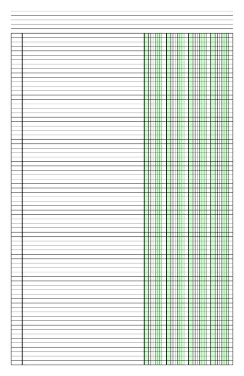template 1 column columnar paper with four columns on ledger sized paper in