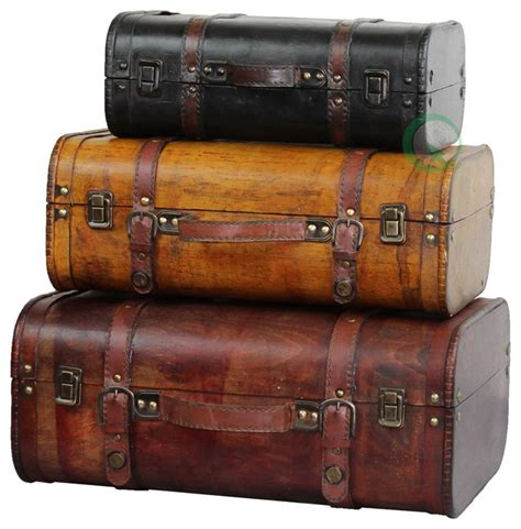 luggage trunks vintage style luggage suitcases set of 3 traditional