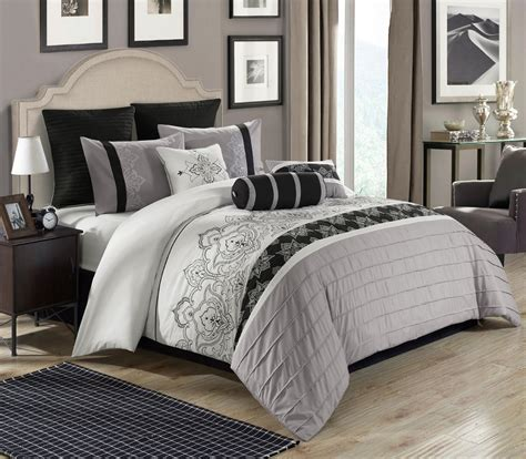 bedroom ensembles 8 piece temsia gray white black comforter set
