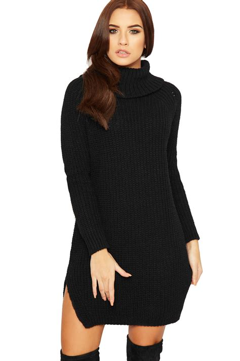 Sleeve Plain Polo Dress womens polo cowl neck jumper dress cable knitted