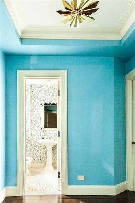 Light Turquoise Bathroom by Thibaut Bimini Ikat Wallpaper Transitional Bathroom