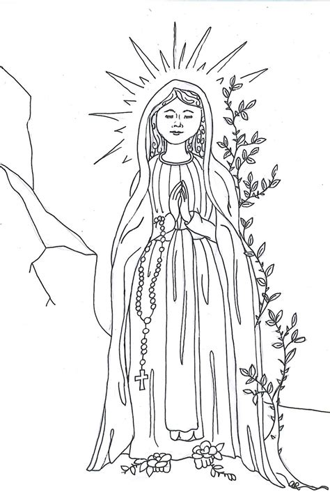 printable coloring pages virgin mary our lady of lourdes coloring page printable coloring