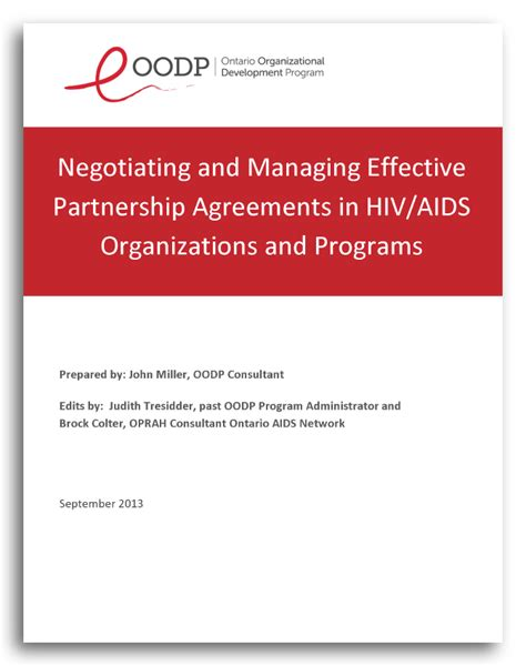 partnership agreement resource original version  ontario organizational development