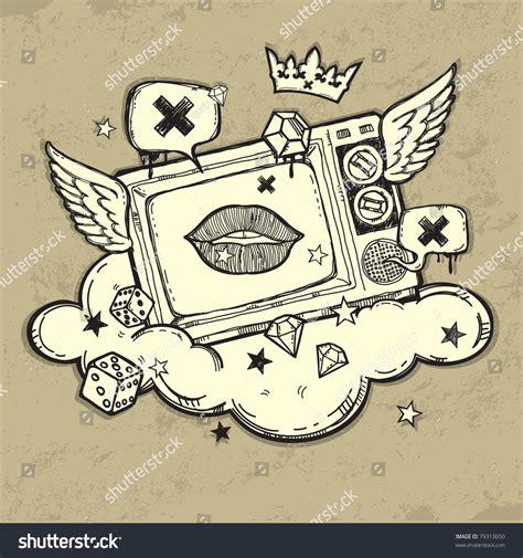 original graffiti artists grunge tv design original graffiti stock vector