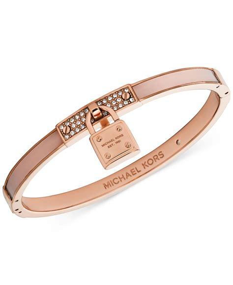 michael kors gold tone blush padlock bangle bracelet