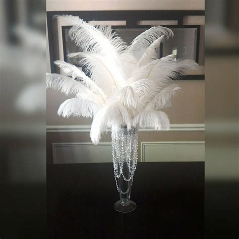 Glass Trumpet Vases White Ostrich Feather Centerpiece 20 Trumpet Vase With