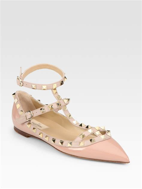 Flats Shoes Valentino 266 4 lyst valentino rockstud patent leather point toe t flats in pink