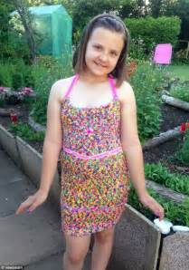 loom band dress video 16 first child to make a adult abigail baker creates full size loom bands dress made out
