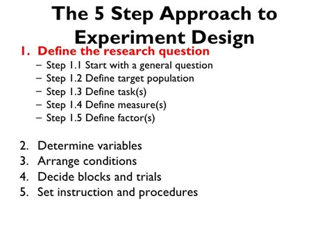 experiment design basics the 5 step approach to controlled experiment design for