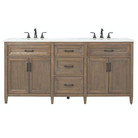 Home Decor Bathroom Vanities Home Decorators Collection Walden 71 In W X 22 In D Bath Vanity In Driftwood Grey With