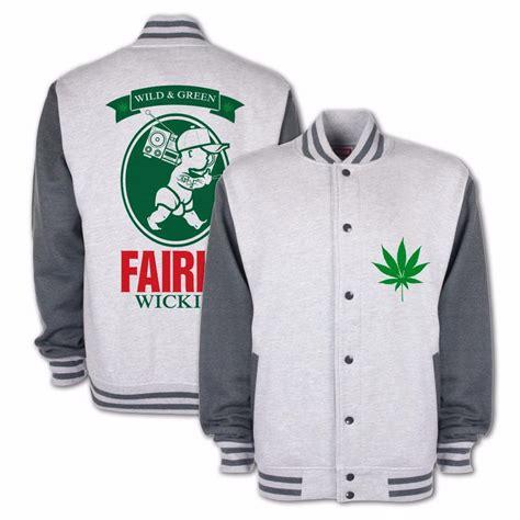 Jaket Hoodie Sweater 420 Rasta 5 fairly wickid stoner cannabis marijana 420 thc mens varsity jacket ebay