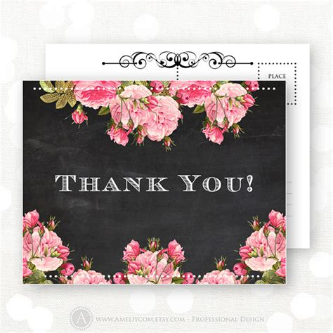 printable chalkboard flowers printable thank you card chalkboard pink flowers for bridal
