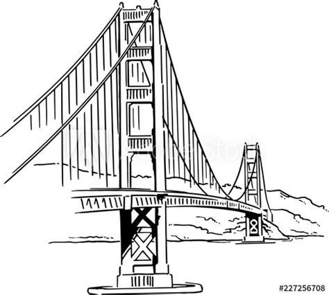 golden gate bridge vector drawing buy  stock vector