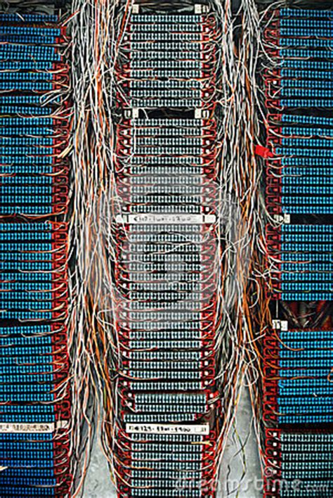 telephone cables connection network or switchboard panel