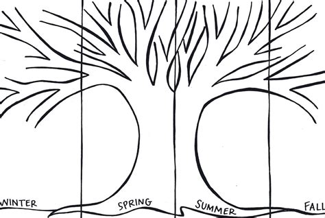 four seasons tree coloring pages