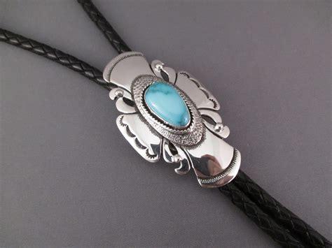 silversmith jewelry leonard gene turquoise bolo tie navajo turquoise bolo tie