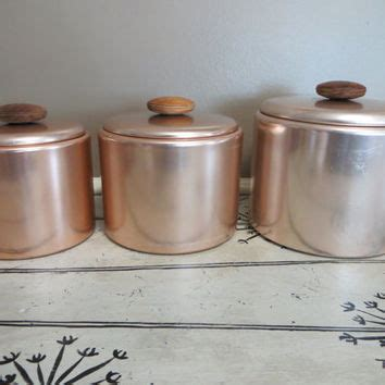 set of 3 vintage canister set mirro canisters kitchen shop metal kitchen canisters on wanelo