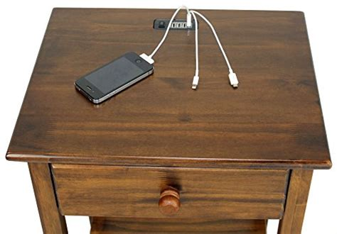 table l with usb port casual home stand with usb port 24 5 inch warm