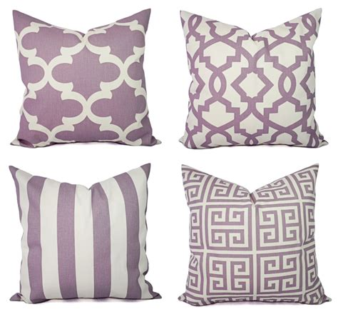 purple sofa pillows soft purple and beige pillow cover one throw pillow cover