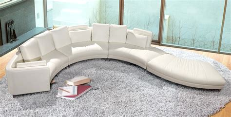 contemporary white s shaped curved leather sectional sofa
