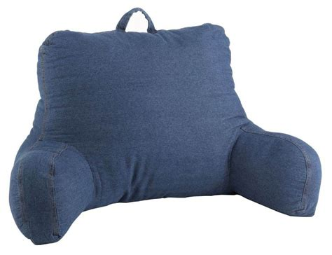 armed bed pillows washed denim bed back support bedrest reading pillow with