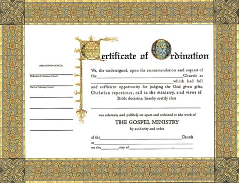 search results for elder ordination certificate template