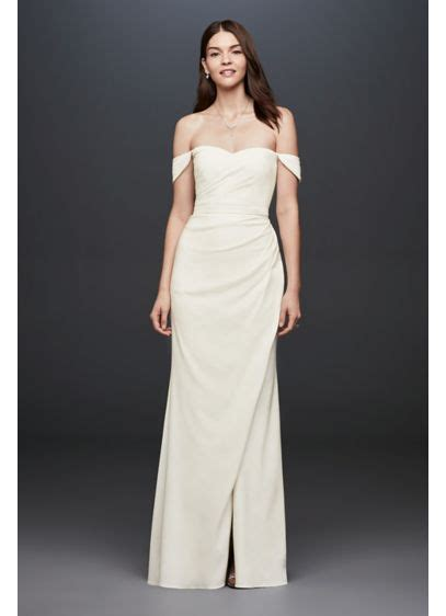 casual wedding dresses at affordable prices db studio by draped off the shoulder crepe sheath gown david s bridal