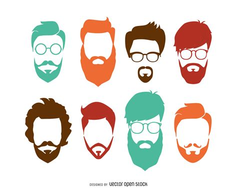 Hipster hairstyle set   Vector download