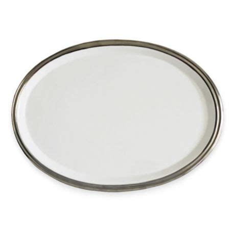 Bahum 10 Inch baum 10 inch oval ceramic platter in white silver bed