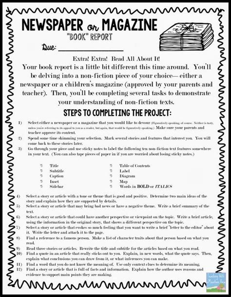 newspaper book report project non fiction newspaper or magazine quot book quot report texts