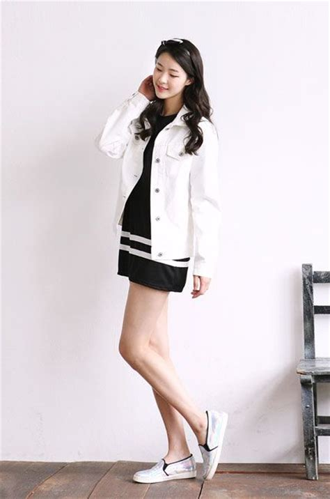 Dress Jersey Korea trendy korean dress white jean jacket simple shoes korean style jersey dresses