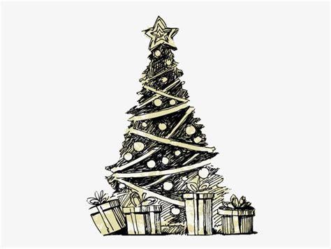navidad pintado a mano arbol de navidad blanco y negro